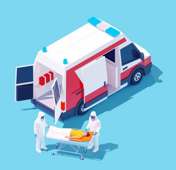 Vector isometric hospitalization with coronavirus vector art illustration
