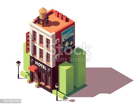 Vector isometric old hotel building with neon sign and travel related advertising on the billboardVector isometric old hotel building with neon sign and travel related advertising on the billboard
