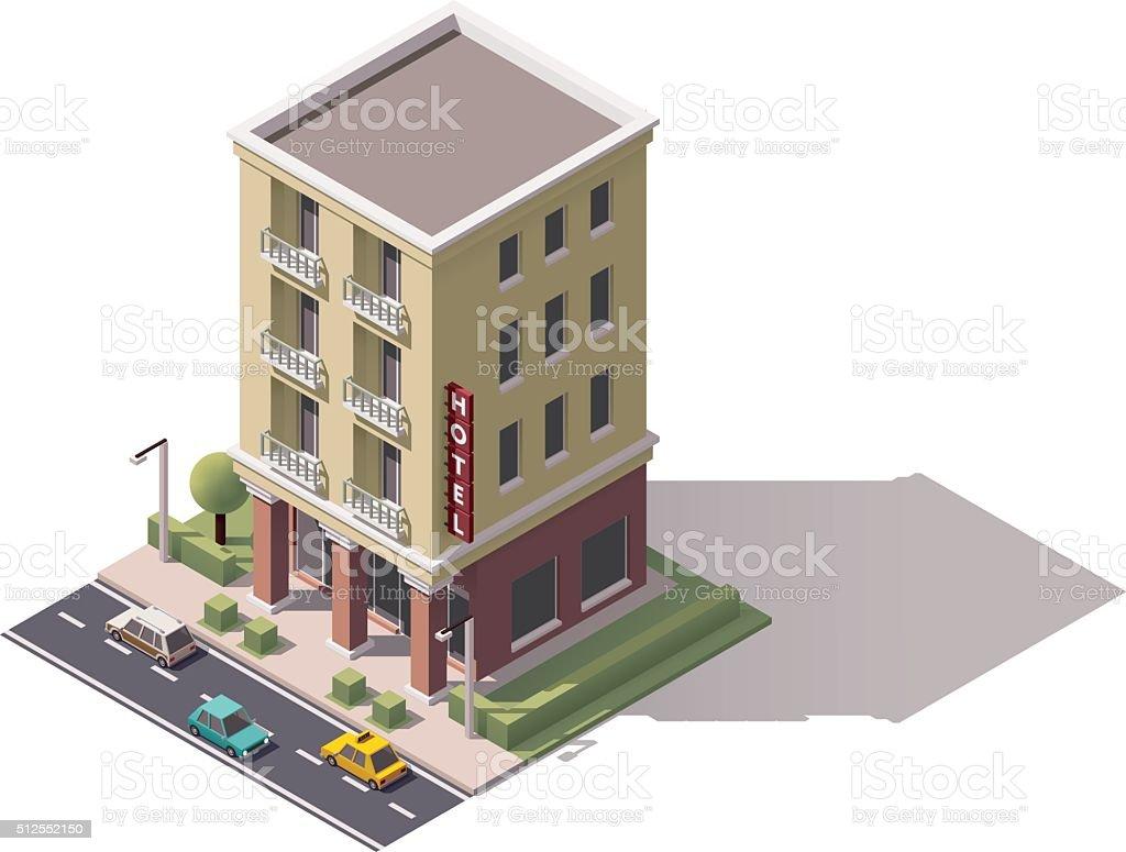 Vector isometric hotel building vector art illustration