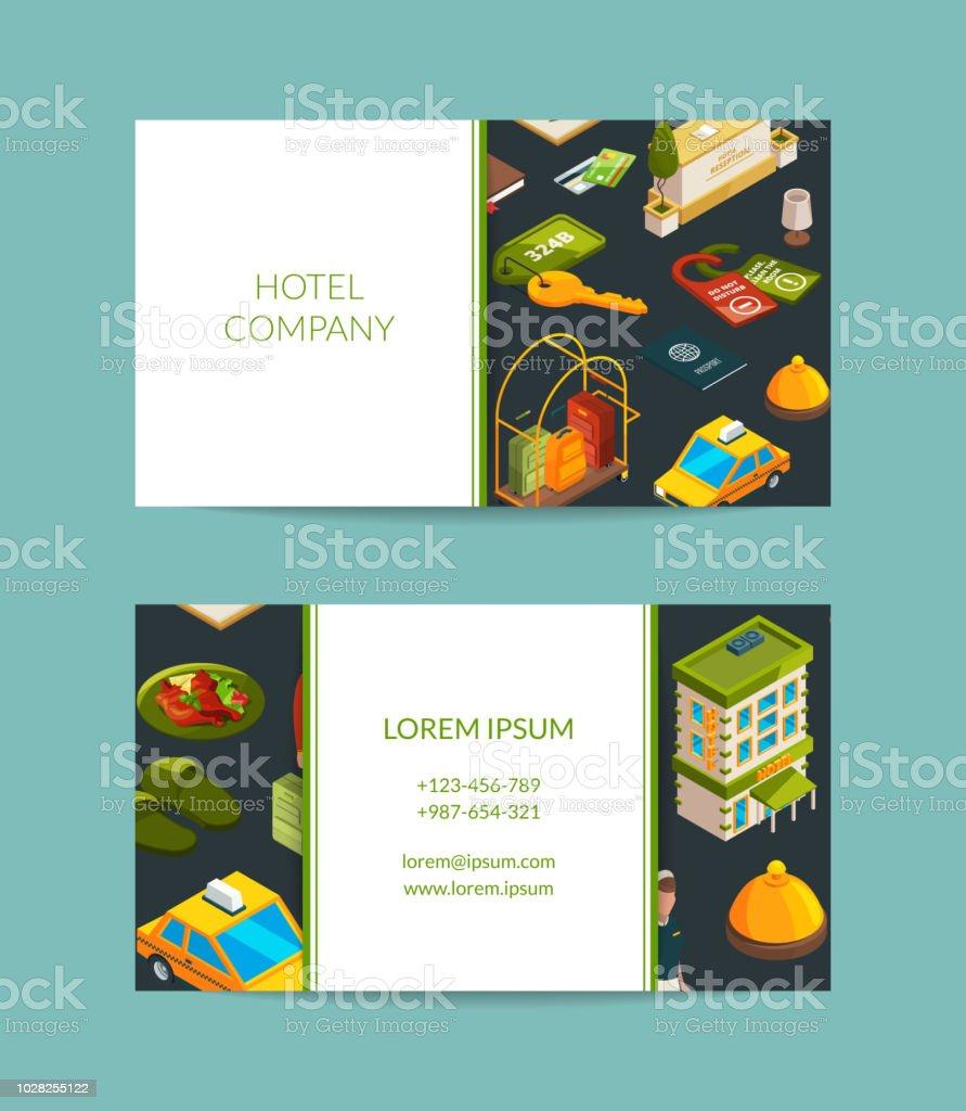 Vektorisometrische Hotel Symbole Visitenkarte Set Stock