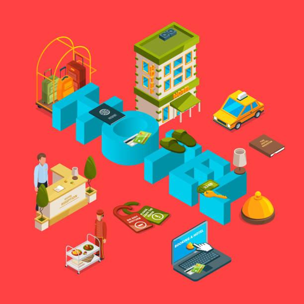 isometrische hotel icons infografik konzept vektorgrafik - küchensystem stock-grafiken, -clipart, -cartoons und -symbole