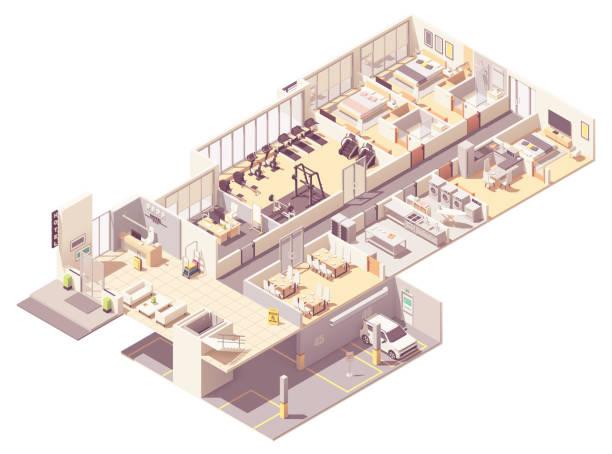 Vector isometric hotel interior vector art illustration