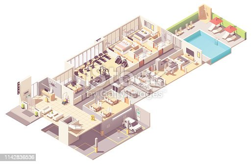 Vector isometric hotel interior cross-section. Hotel rooms and suit, reception, fitness gym, breakfast area, kitchen, laundry room, parking garage and outdoor pool