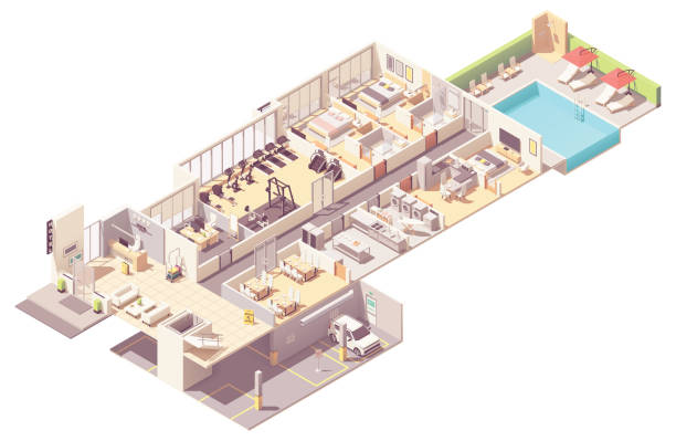Vector isometric hotel interior Vector isometric hotel interior cross-section. Hotel rooms and suit, reception, fitness gym, breakfast area, kitchen, laundry room, parking garage and outdoor pool bathroom designs stock illustrations