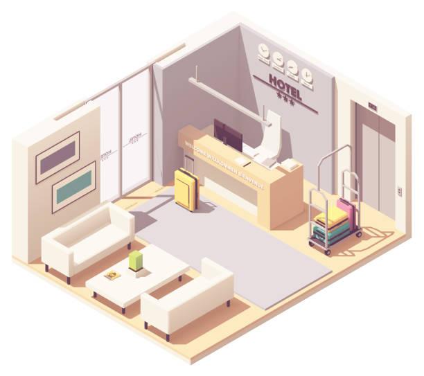 vector isometric hotel reception - hotel reception stock illustrations