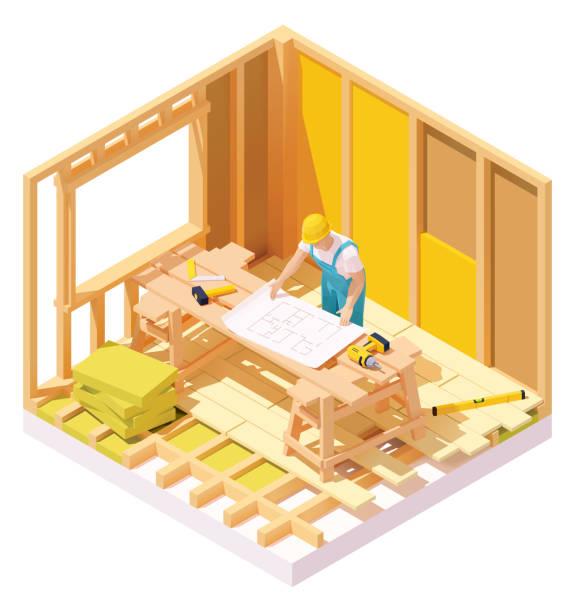 Vector isometric house construction vector art illustration