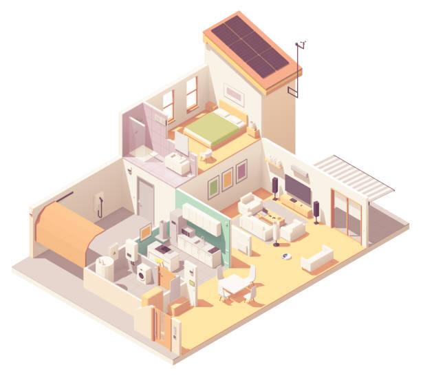 ilustrações de stock, clip art, desenhos animados e ícones de vector isometric house cross-section - house garage