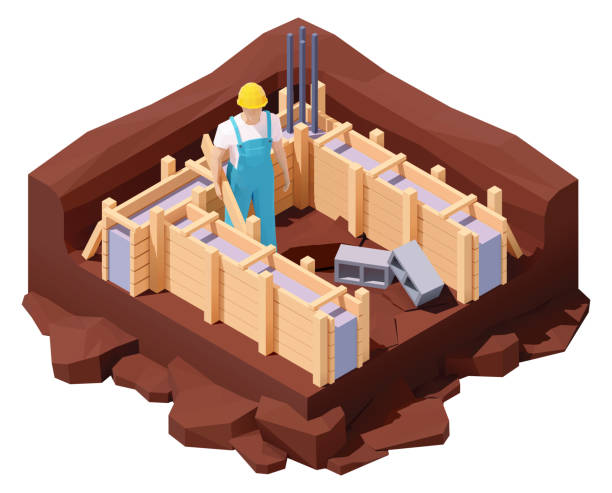 vector isometric house foundation works - basement stock illustrations