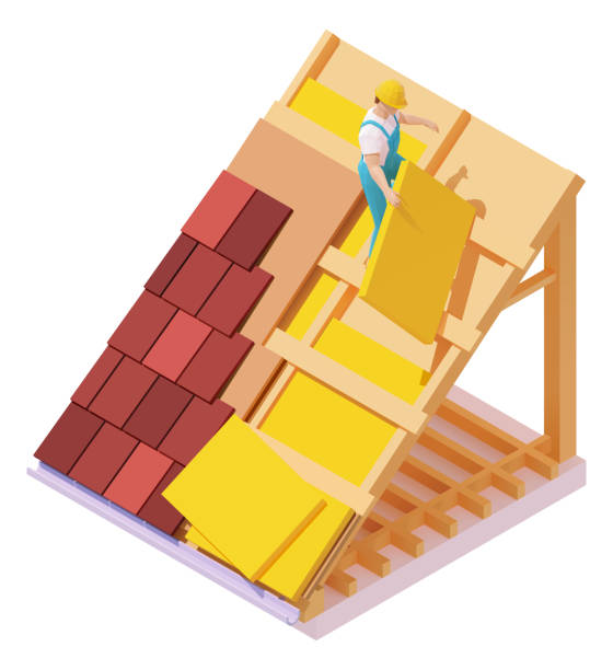 Vector isometric house roof construction vector art illustration