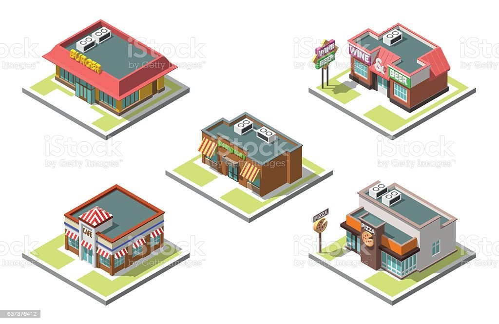 Vector isometric icon set infographic 3d buildings векторная иллюстрация
