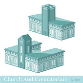 Vector isometric icon set or infographic elements representing buildings of crematorium and church
