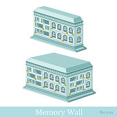 Vector isometric icon set or infographic elements representing buildings of wall of memory