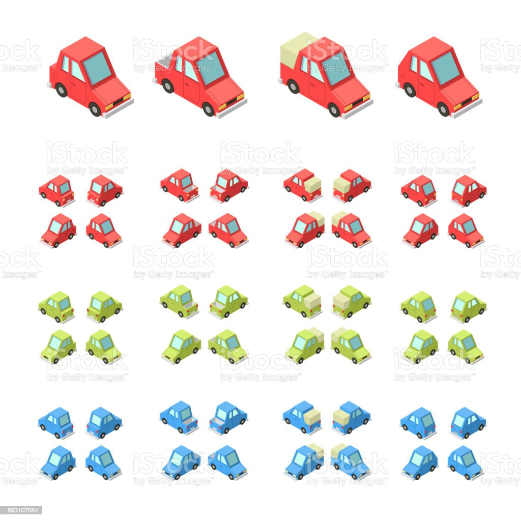 Vector isometric icon set private cars vector art illustration
