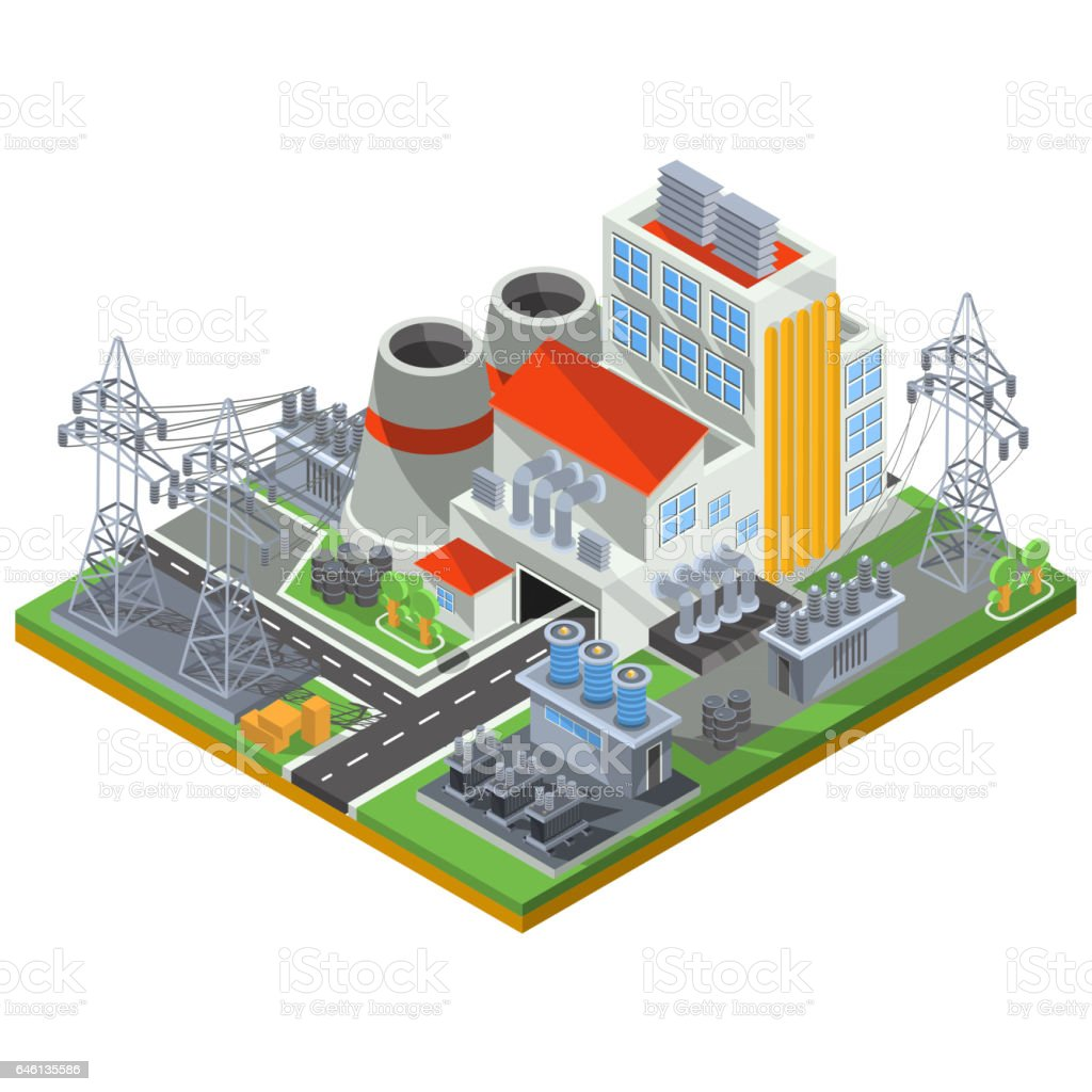 Vector Isometric Illustration Of A Thermal Power Plant For The Electrical Diagram Production Energy Royalty