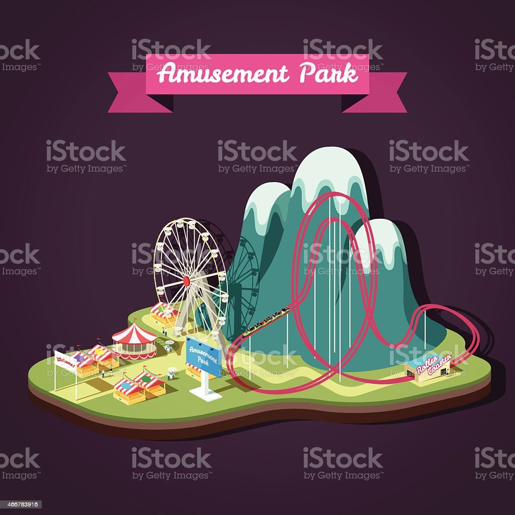 Vector isometric illustration of Amusement Park with different attractions vector art illustration