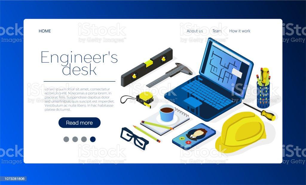 Vector Isometric Illustration Of Freelancer Workspace
