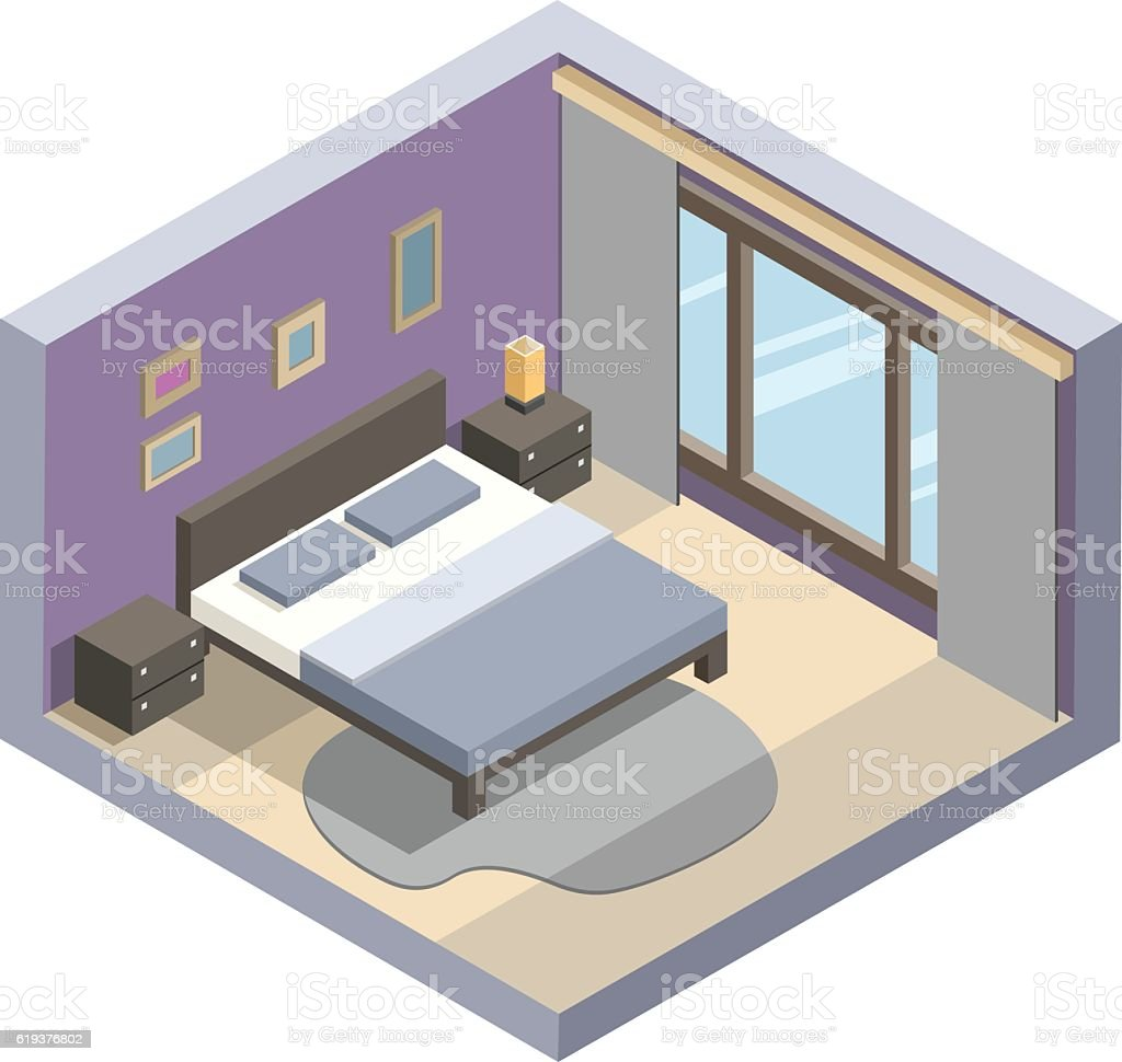 Vector isometric illustration of hotel room flat 3d for Room design vector