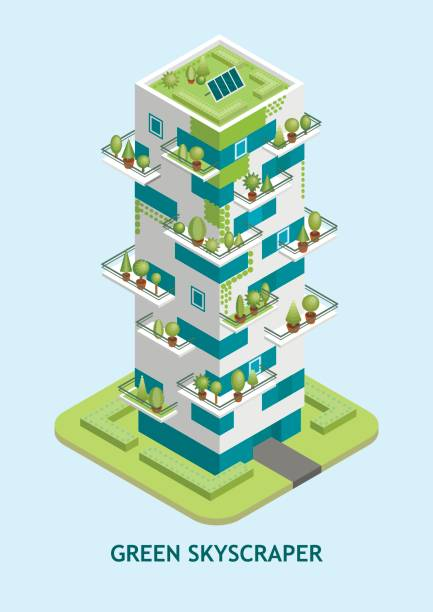 Vector isometric illustration of modern skyscraper with a green roof with solar panels. Vector isometric illustration of modern skyscraper with a green roof with solar panels, trees growing on balconies, vertical landscaping. urban gardening stock illustrations