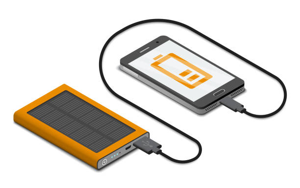 Vector isometric illustration of solar powerbank charging a smartphone Vector isometric illustration of solar powerbank charging a smartphone cell phone charger stock illustrations