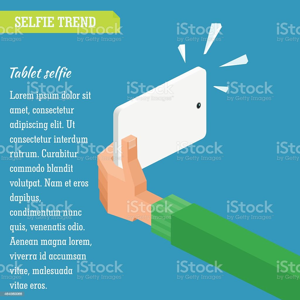 Vector isometric illustration. Selfie in flat infographic style vector art illustration
