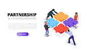 Vector isometric illustration with people holding a puzzle piece. Teamwork concept banner. Landing page.