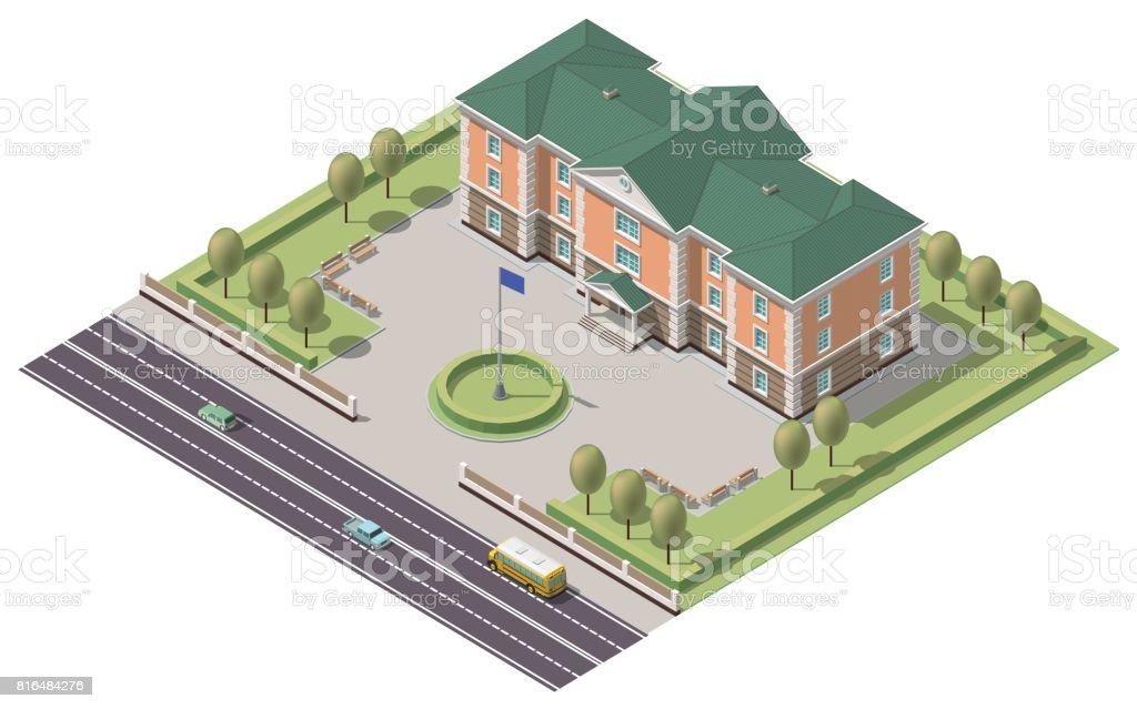 Vector isometric infographic element or university building. Flat illustration on white background векторная иллюстрация