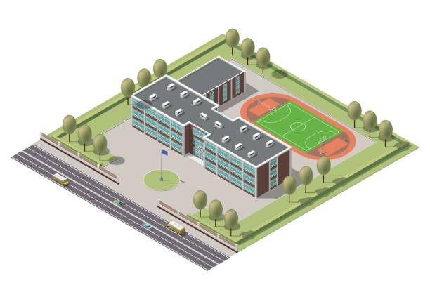 Vector isometric infographic element or university building. Flat illustration on white background Vector isometric infographic element or university building. Flat illustration campus stock illustrations