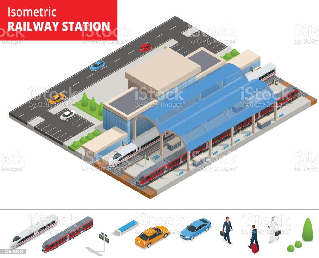 Vector isometric infographic element Railway Station Building Terminal. City Train. Building Facade Train Station public train station building with passenger trains, platform, related infrastructure vector art illustration