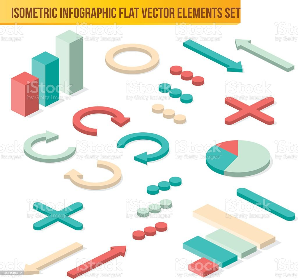 Vector isometric infographic elements. Flat isometric infographi vector art illustration