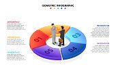 Vector isometric infographic with businessman handshake. Template for diagram, presentation and pie chart. Business concept with 5 options, parts, steps or processes. Partnership concept.