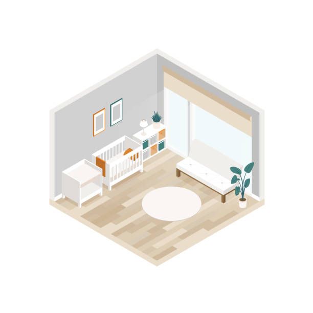 03d667fe3fa8 Vector isometric interior of baby room with a baby cot, changing table,  sofa and