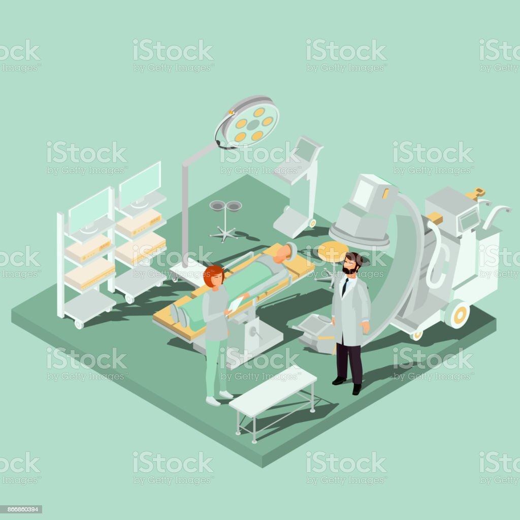 Vector Isometric Interior Of Operating Room With Operating