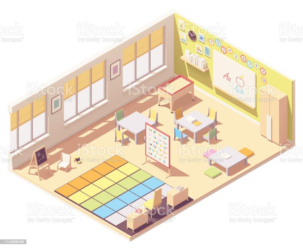 Vector isometric Kindergarten Preschool Classroom