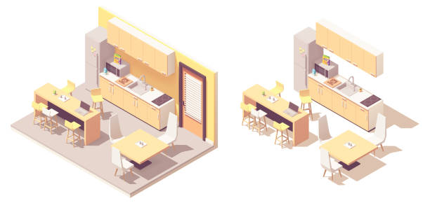 illustrazioni stock, clip art, cartoni animati e icone di tendenza di vector isometric kitchen - kitchen situations