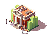 Vector isometric old public library brick building with columns and bicycle parking