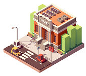 Vector isometric old public library brick building with columns and bicycle parkingVector isometric old public library brick building with columns and bicycle parking