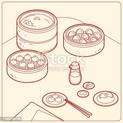 Isometric vector Dim Sum illustration sketch.