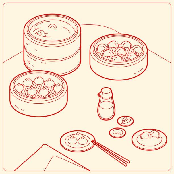 bildbanksillustrationer, clip art samt tecknat material och ikoner med vektor iso metrisk linje illustration. populära asien mat dim sum uppsättning samling. ingår bun och dumpling. - illustrationer med hongkong