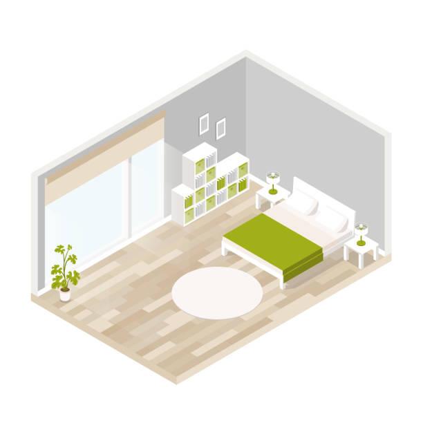 vektor-isometrische lounge mit holzboden, großes fenster, bett, lampe, blume luxus innen gelebt. - bodenbetten stock-grafiken, -clipart, -cartoons und -symbole