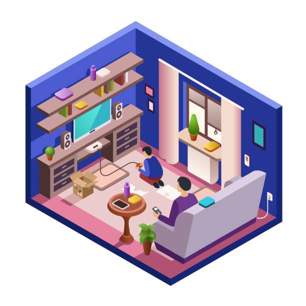 ilustrações de stock, clip art, desenhos animados e ícones de vector isometric living room interior with people - tv e familia e ecrã