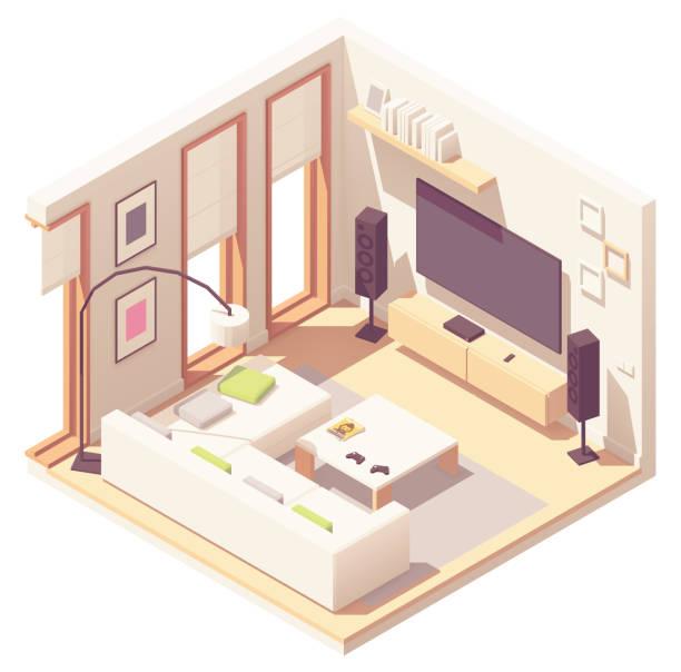 ilustrações de stock, clip art, desenhos animados e ícones de vector isometric living room - obras em casa janelas
