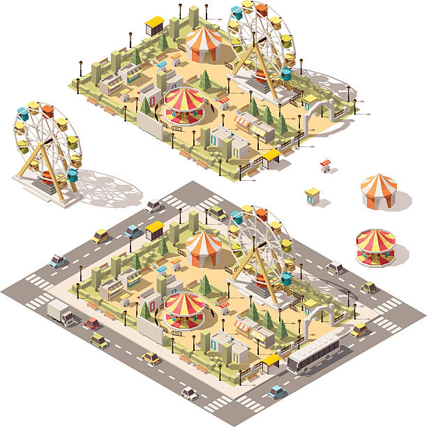 Vector isometric low poly amusement park - ilustración de arte vectorial