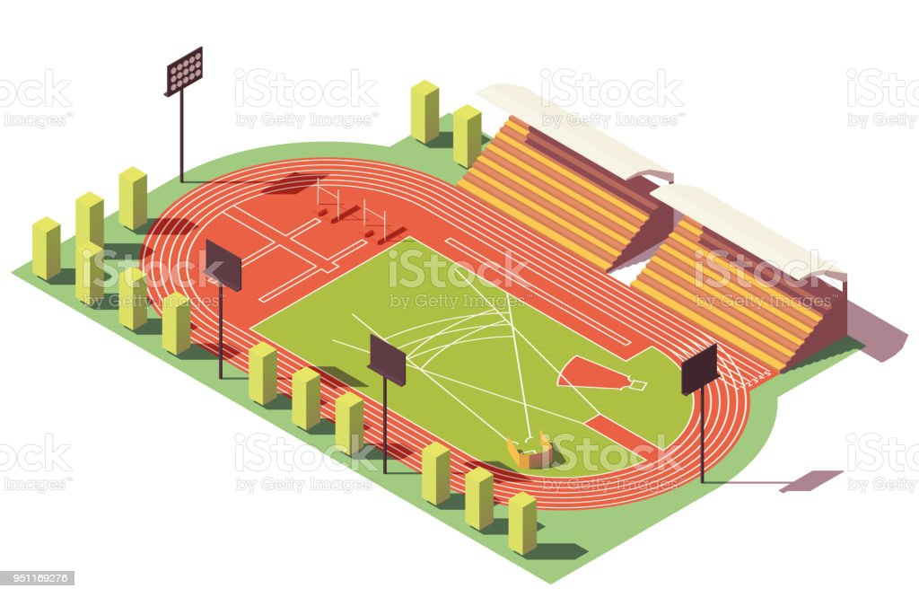 Stade d'athlétisme de vecteur isométrique low poly - Illustration vectorielle
