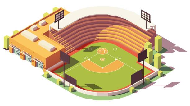 vector isometric low poly baseball park - baseball stadium stock illustrations, clip art, cartoons, & icons