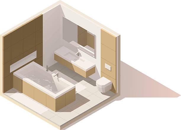 vector isometric low poly bathroom icon - halbwände stock-grafiken, -clipart, -cartoons und -symbole