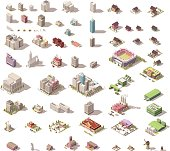 Different isometric low poly buildings and town elements