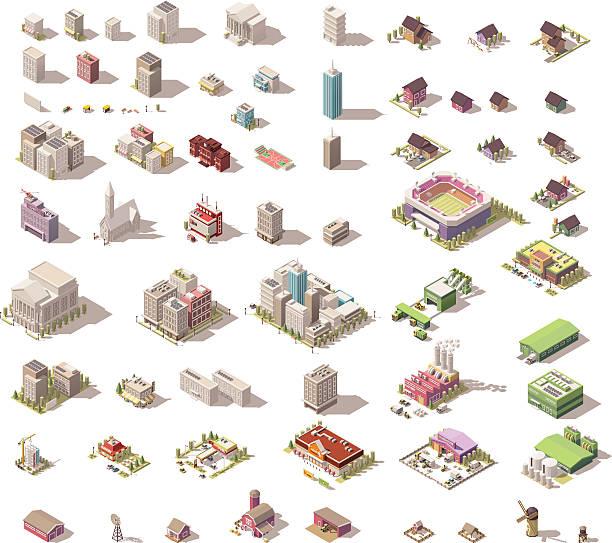 wektorowe budynki i domy poliemetryczne o niskiej poliicznej - rzut izometryczny stock illustrations