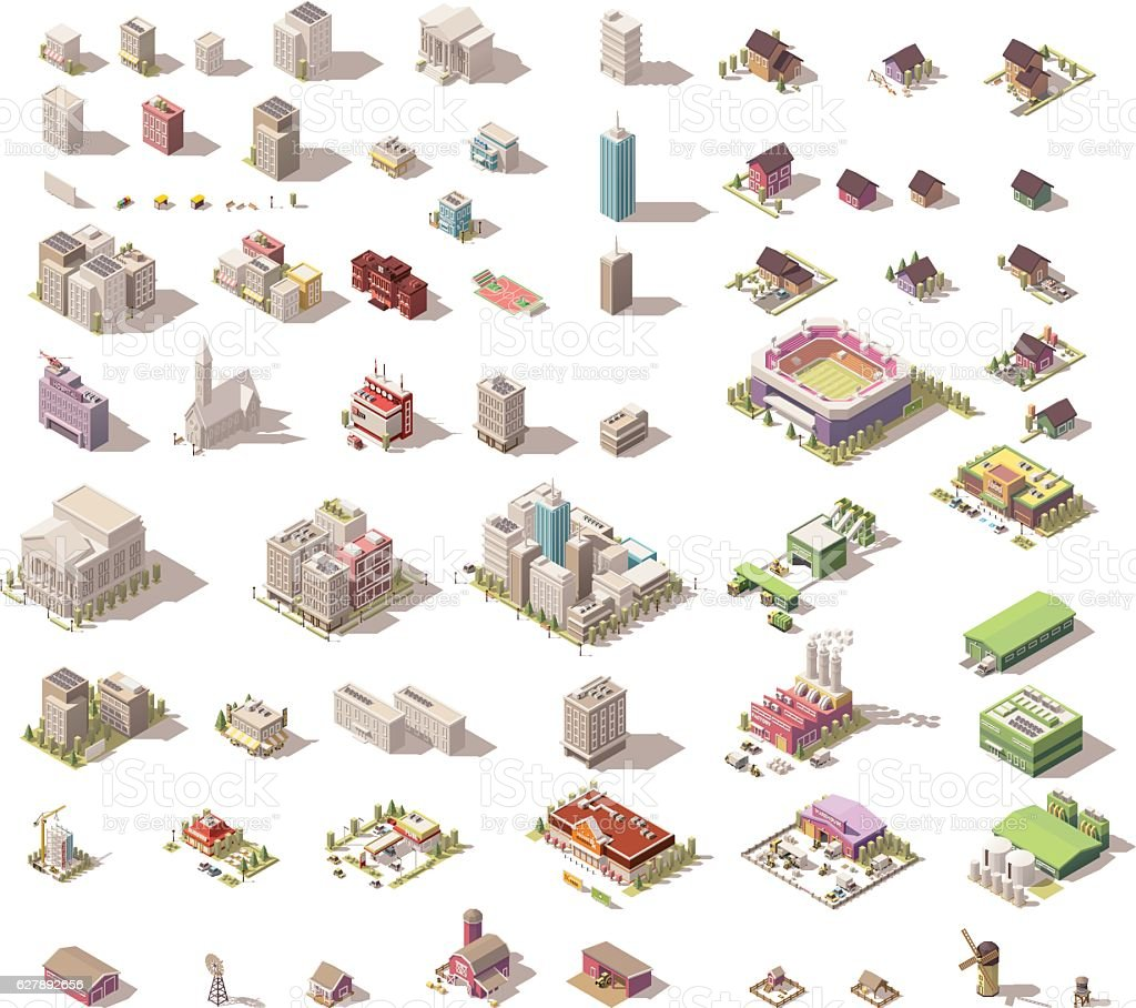 Vector isometric low poly buildings and houses - Illustration vectorielle