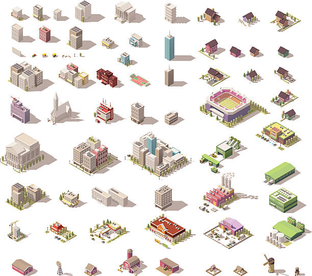 vector isometric low poly buildings and houses - небольшой город stock illustrations