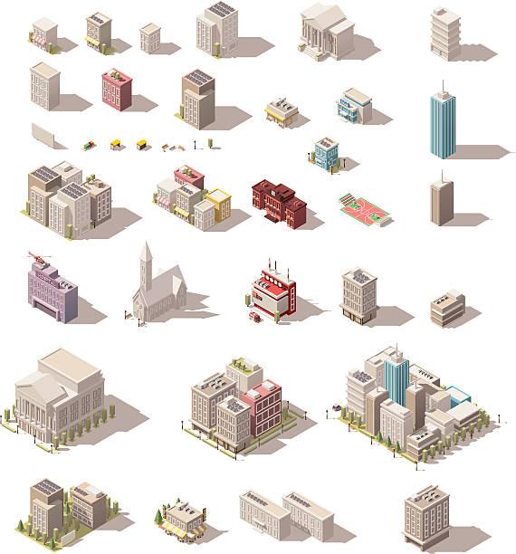 ilustraciones, imágenes clip art, dibujos animados e iconos de stock de vector isometric low poly buildings set - íconos 3d